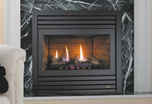 Single sided gas fireplace with dryer vent