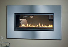 See through glass gas wall fireplace