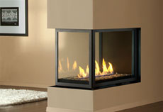 See through glass gas fireplace firebox