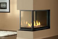 See through glass gas fireplace firebox